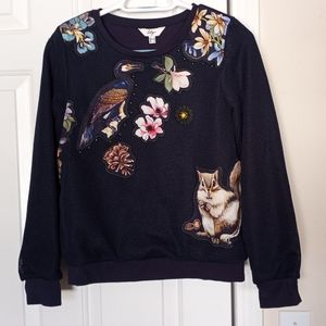 Lily Bird & Squirrel Floral Navy blue Sweater